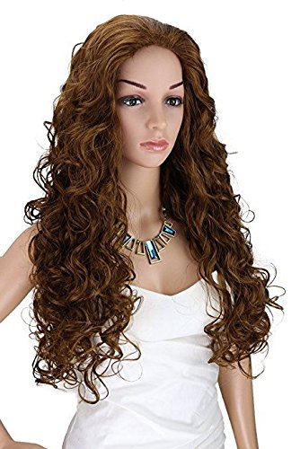 Kalyss Long Curly Wavy Brown Wigs for Women Heat Resistant Synthetic Cosplay Costume Full Hair Wig for Women,24 inches 0.66lb