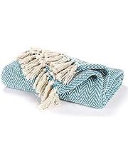 EHC katoenen handgeweven omkeerbare eenpersoonshoes voor fauteuils 125 x 150 cm - blauwgroen