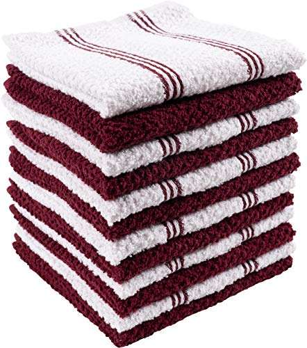 (KAF Home Pantry Piedmont Terry Dish Cloths | Set of 12, 12 x 12 inches, Absorbent Terry Dish Cloths, Wash Cloths, Bar Mop Rags | Perfect for Spills, and Wiping)