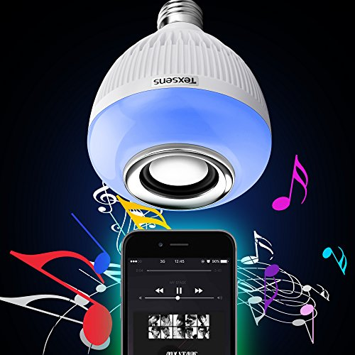 Texsens Bluetooth Music Bulb Playing RGB Change Light with 24keys Remote Control Wireless Stereo Audio Speaker