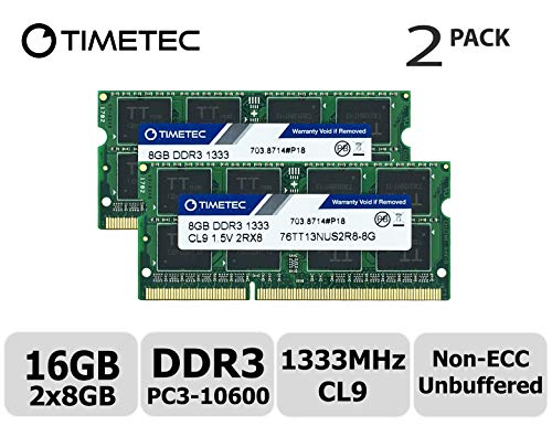 Timetec Hynix IC 16GB Kit(2x8GB) DDR3 1333MHz PC3-10600 Non ECC Unbuffered 1.5V CL9 2Rx8 Dual Rank 204 Pin SODIMM Laptop Notebook Computer Memory Ram Module Upgrade(16GB Kit(2x8GB)) ()