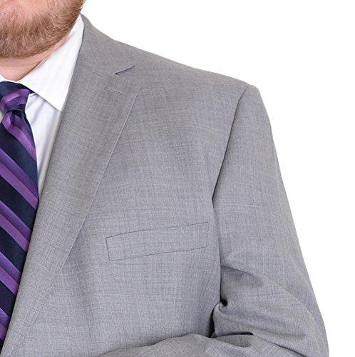 Modern Fit Light Heather Gray Two Button Super 150s Wool Suit