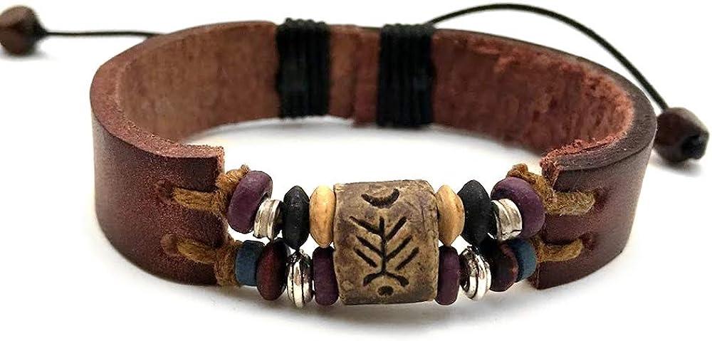 Agathe Creation-tibetain; amuleto-Pulsera perlas de madera, metal y piel terracota y cáñamo, hecho a mano, color Multicolor