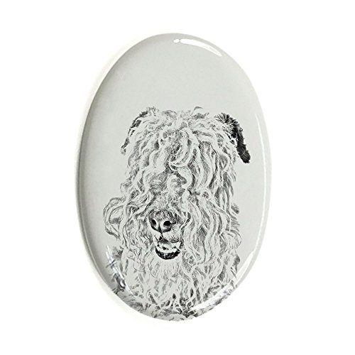 Lakeland Terrier, Oval Gravestone from Ceramic Tile with an Image of a Dog