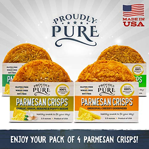 Proudly Pure Parmesan Cheese Crisps - Keto Snacks Zero Carb Crunchy Delicious Healthy 100% Natural Aged Cheesy Parm Chips Wheat, Soy & Gluten Free Keto Crackers Low Carb Snacks | Variety 4 PACK 7