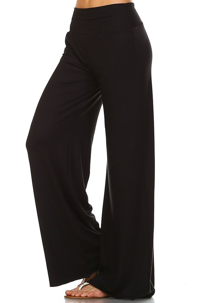 Simplicitie Women's Casual Wide Leg High Waist Bohemian Palazzo Pants - Regular and Plus Size - Black - Made in USA