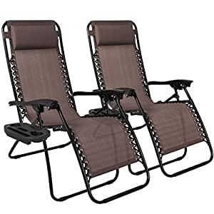 2PCS Brown Zero Gravity Recliner Lounge Chair Cup Tray Holder Foldable Design Patio Outdoor Garden Deck Backyard Camping Picnic Pool Beach Décor Furniture UV-Resistant Removable Adjustable Headrests