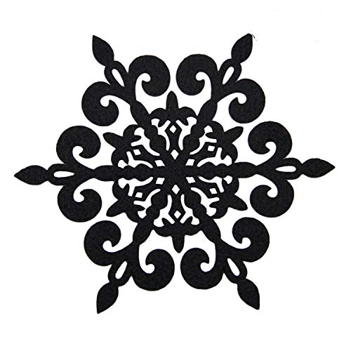 Coasters Set of 8 Felt Absorbent Snowflake Coaster for Drinks - Desktop Protection Prevent Furniture Damage - Black Absorbs Moisture - Tabletop Drink -