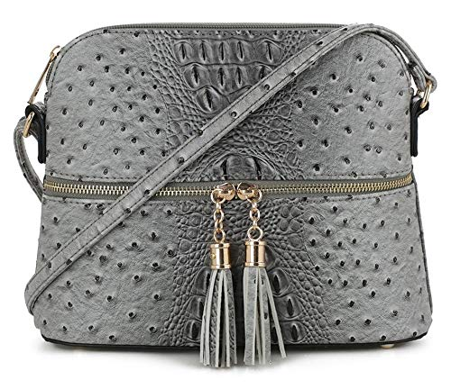 SG SUGU Crocodile Pattern Lightweight Medium Dome Crossbody Bag with Tassel | GY1