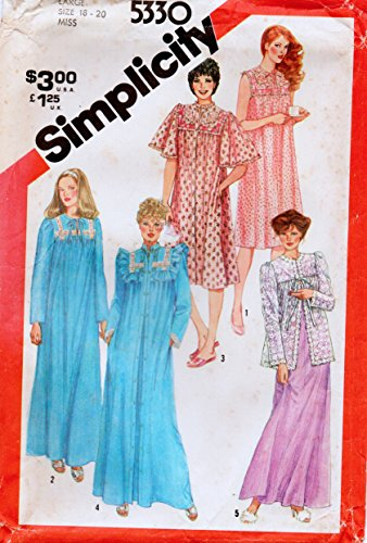 Simplicity 5880 Misses Misses' Pullover Nightgown and Robe in Two Lengths and Bed Jacket Vintage Sewing Pattern Size Large 18-20 Bust 40-42