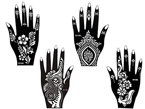 Plantillas de tatuaje, 4unidades, kit de jena para fiesta, 4para un solo uso para manos Beyond