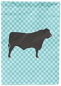 Caroline tesoros del bb8002gf negro Angus vaca y azul bandera de Jardín, multicolor