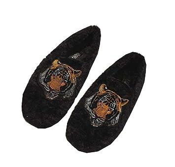 Mujeres Bomba Peludas Zapatos De Tacón Plano Mocasines Ronda Toe Bordado Vago Zapatos Casuales Zapatos De La UE Tamaño 35-39: Amazon.es: Deportes y aire ...