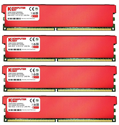 X 4GB) DDR2 DIMM (240 pin) 800MHZ PC2-6400 PC2-6300 Desktop RAM with Red Heatspreaderss for extra Cooling CL 5-5-5-12 (Pc2 6400 Cl5 240 Pin)