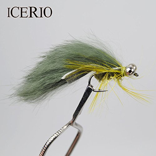 (8PCS #6 Olive/Green Zonker Streamer Flies Baitfish Imitator Trout Fishing Lures)
