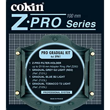 Cokin Pro Graduated Filter Kit with Filter Holder & Graduated ND Filters #121L, Graduated Light Blue #2 Filter #123L, Graduated Tobacco #2 Light Filter #125L - Z-Pro Series