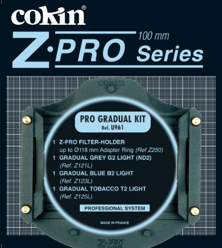 Cokin Pro Graduated Filter Kit with Filter Holder & Graduated ND Filters #121L, Graduated Light Blue #2 Filter #123L, Graduated Tobacco #2 Light Filter #125L - Z-Pro Series by Cokin