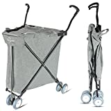 Freshore Grocery Shopping Cart with Wheels - Collapsible Push Folding Utility Wagon Trolley 丨 Laundry Trolley Carrier with Heavy Duty Flexible Fashion Design.