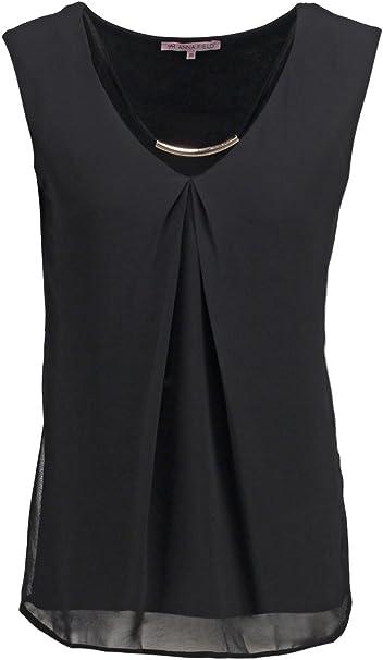 Anna Field Top Damen in Schwarz o. Blau, unifarben Blusentop ärmellos elegant, Oberteil mit V Ausschnitt, Blusen Shirt ohne Ärmel aus Jersey