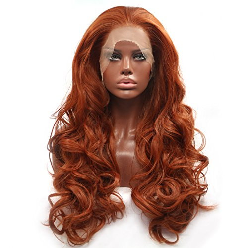 BESTUNG Fashion Glueless Copper Red Long Natural Wavy Free Part Lace Front Wigs Heat Resistant Synthetic Hair Wig for Women 24Inch (Copper Red)]()