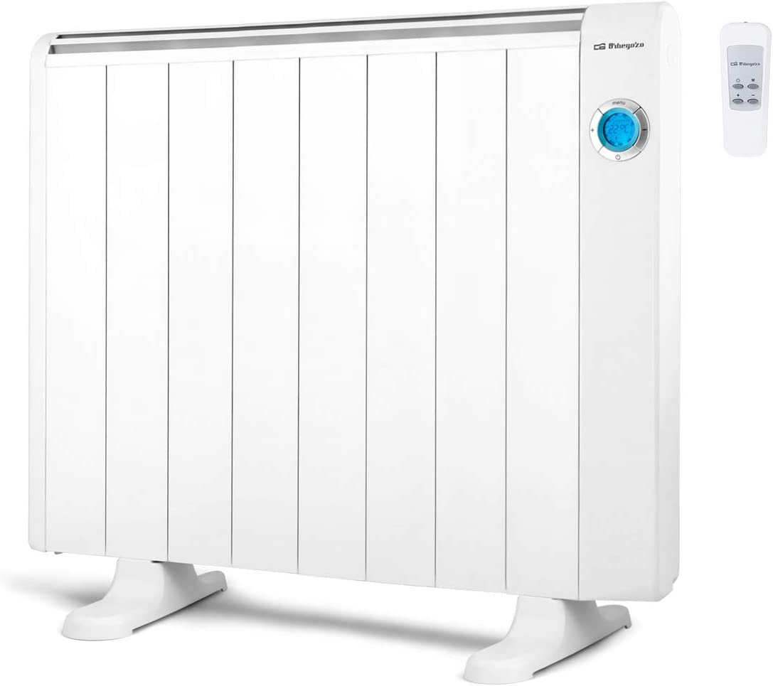 Orbegozo RRE 1510 Emisor Térmico Bajo Consumo, 8 Elementos de Calor, Pantalla Digital LCD, Mando a Distancia, Funcionamiento Programable, 1500 W, Aluminio, Color blanco