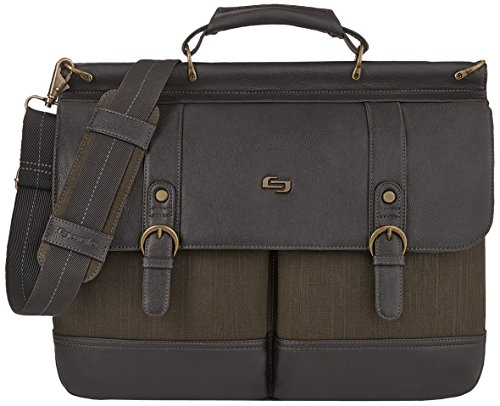 Executive Briefcase - Solo Thompson 15.6 Inch Briefcase with Padded Laptop Compartment, Brown