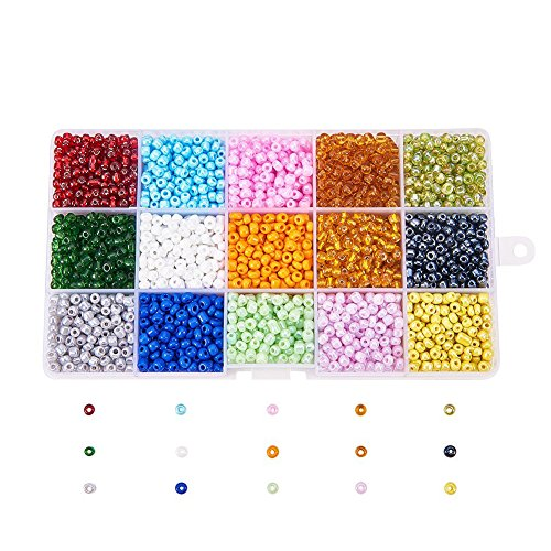 PandaHall 1 Box 15 Color 6/0 Glass Seed Beads 4mm (About 5850pcs/box) for Jewelry Making, Beading, Crafting