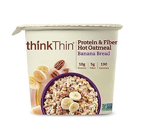 thinkThin Protein & Fiber Hot Oatmeal, Banana Bread, 1.76 Ounce by thinkThin