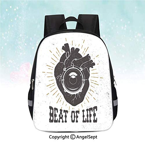 Kids School Backpack,Beat of Life Quote Artworks Poster Human Heart with Stereo Speaker Grunge Stamp,13
