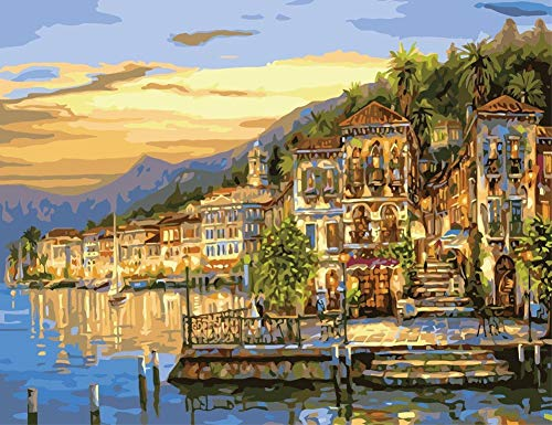 YEESAM ART DIY Paint by Numbers for Adults Beginner Kids, Sunset Seaside City Landscape 16x20 inch Linen Canvas Acrylic Stress Less Number Painting Gifts (City, with Frame)