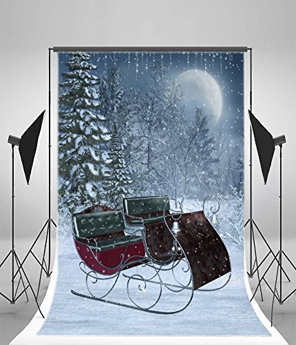 7' Vinyl Doll (Laeacco 5x7FT Vinyl Backdrop Fantasy Sleigh and Sparkles Photography Background Winter Moon Night Heavy Snow Day Snowflakes Pine Trees Cart Santa Claus Christmas Background New Year Party Backdorp)