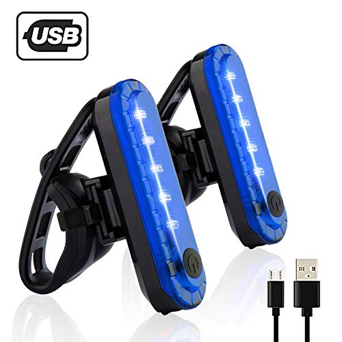Yuwumin Rear Bike Tail Light 2 Pack,Ultra Bright USB Rechargeable Volcano Bicycle Taillights,Red High Intensity Led Accessories Fits On Any Road Bikes,Helmets. (Blue-2 Pieces)