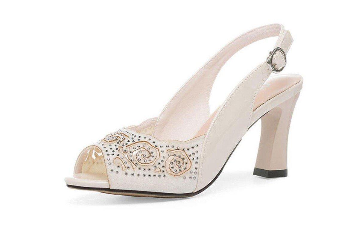 GTVERNH Damenschuhe Sommer Ist Mama Schuhe Weichen Boden Fisch Im Mund Sandalen und 8 cm High Heels Komfortable Diamond Schuhe.
