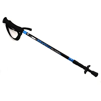 Escomdp Ultra léger Trekking/randonnée/escalade Bâtons Anti-Shock réglable Full Carbon Bâton de marche, 3sections (Bleu)