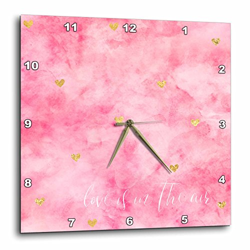 3dRose PS Inspiration - Gold Hearts Pink Watercolor Love is in the Air - 10x10 Wall Clock (dpp_280714_1) by 3dRose