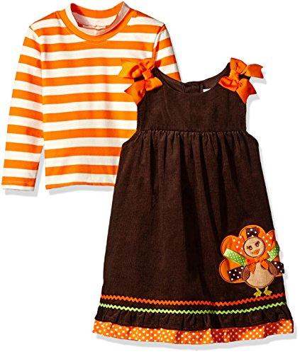 Rare Editions Little Girls' Toddler Turkey Applique Corduroy Jumper, Brown/Orange/White, 4T