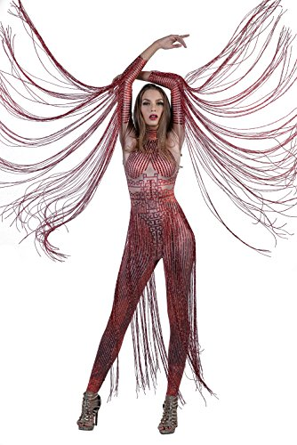 - Charismatico Red 3D Print Crystallised Bodycon Drag Queen Romper Catsuit Jumpsuit with Arm Tassels Fringe one Size