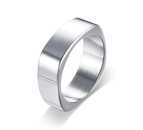 vnox Fashion acero inoxidable Plain cuadrado shapeengagement anillos de boda para hombres, 7 mm,