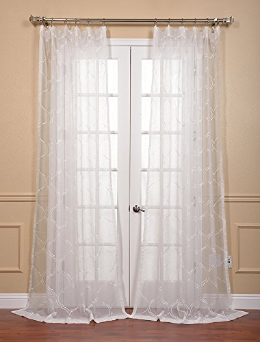Sheer White Curtains Embroidered