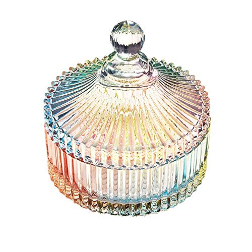 Danmu 1Pc Colorful Glass Storage Jar with Lid Candy Cookie Jar Jewelry Box Buffet Jar Biscuit Container (280 ml / 9.5 oz) from Danmu
