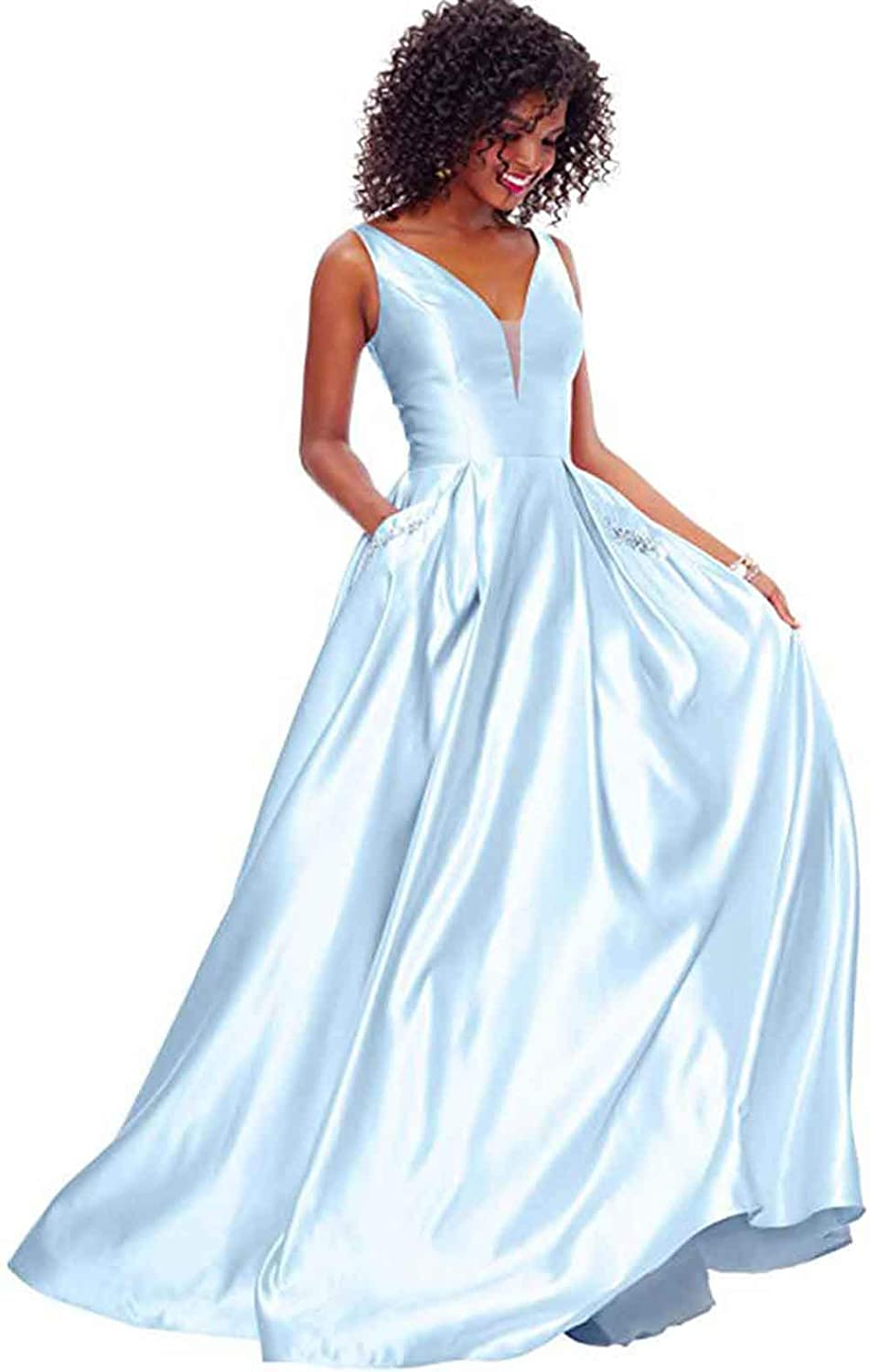 Baby bluee Rmaytiked Womens V Neck Beaded Prom Dresses Long Satin A Line Formal Evening Ball Gowns with Pockets