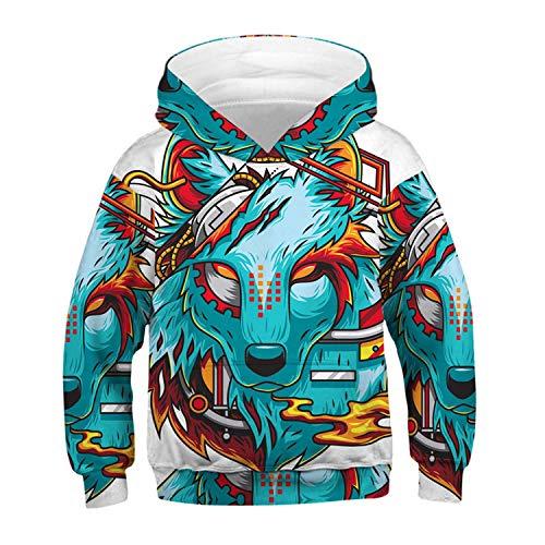 NUCLIGHTER Unisex Wolf Hoodies Long Sleeve 3D Printed Wolf Pullover Sweatshirt Realistic Halloween Hoodie for Kids Blue]()