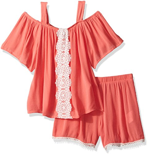 My Michelle Girls' Big Two Piece Set Cold Shoulder Crochet Trim, Coral, S (Michelle My Clothes)