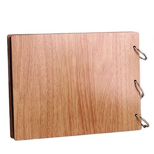 11 x 8 inch DIY Wood Cover Photo Album Self Adhensive Black Cards Scrapbook Album,30 Sheets (Full Love) by Green fox (Image #1)