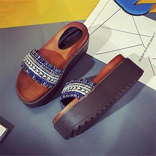 LIXIONG Portátil Pantuflas de tacón alto de verano Pendiente con sandalias femeninas de desgaste exterior Suelas gruesas de los zapatos de playa -Zapatos de moda ( Color : B , Tamaño : EU39/UK6/CN39 ) A