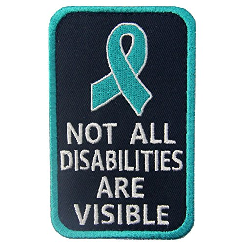 Not All Disabilities are Visible Vests/Harnesses Service Dog Emblem Embroidered Fastener Hook & Loop Patch (Emotional Support Animal Patch)