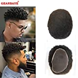GEANBAYE Afro Toupee Hair replacement Hair System And Hairpiece with 100% Human Hair Soft Swiss Lace Breathable For Men (#1B)