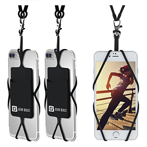 Cell Phone Lanyard Strap, Gear Beast Universal Smartphone Case Cover Holder Lanyard Necklace Wrist Strap W/ID Card Slot For iPhone X 8 Plus 8 7 Plus 7 Galaxy S9 Plus S9 S8 Plus S8 Note 8 5 & More from Gear Beast