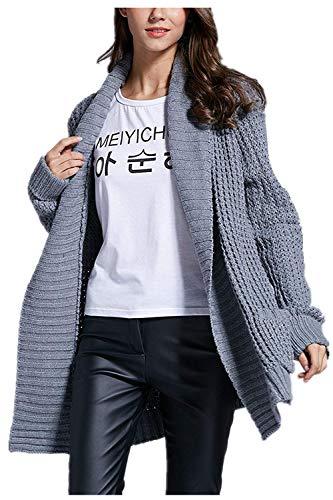 Mujeres Fashion Cómodo Pullover Battercake Casual Abrigo Áspero Abrigos Bolsillos Suéter Otoño Tejido Invierno Largo Grau Mujer Manga Elegantes Anchas Outerwear Casuales Con p76qFp