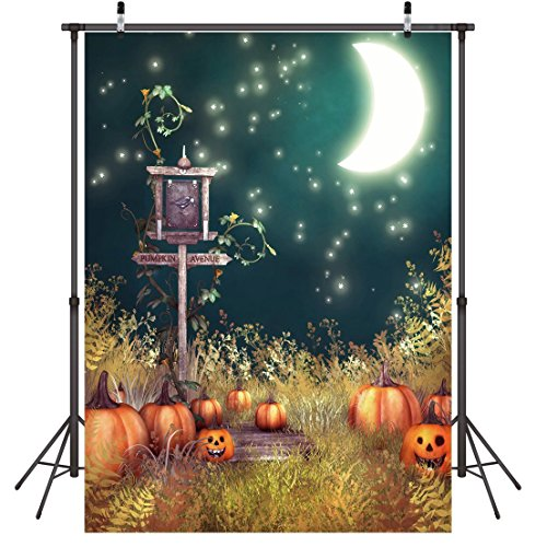 (LYWYGG 5x7FT Halloween Moon Night Backdrop Pumpkin and Street Lights Decors Children Photo Background Party Decorations CP-59)